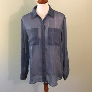 Size M Sheer Michael Kors Button Down Blouse